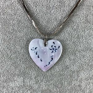 Jewelry - Grey Porcelain Heart Hand-paint Silver Flat Chain